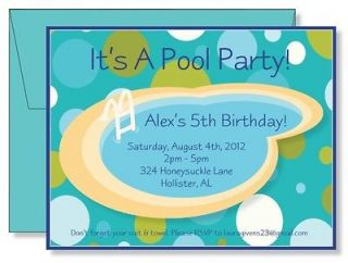 Personalized Swimming Pool Party & Dots Boys Birthday Party Invitation