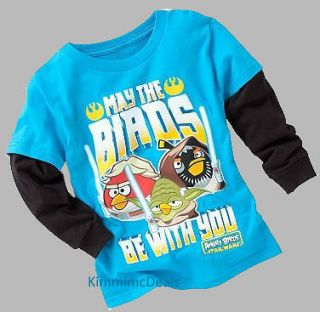 ANGRY BIRDS STAR WARS LITTLE BOYS LS SLIDER BLUE TEE SHIRT NEW