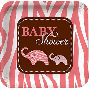Wild Safari Pink Baby Shower Party Supplies, Decorations, Tableware