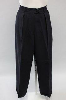 RALPH LAUREN Navy Blue Pleated High Waist Cuffed Leg Dress Pants Sz 8
