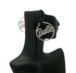 Inspired Iced Out Hoop Rhinestone Barbie Pincatch Earring Silver S