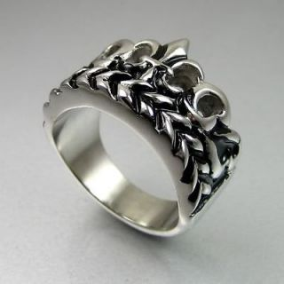 Vintage Biker Mens Black Silver Stainless Steel Crown Ring Size 12.5