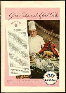 1935 Print Ad FRENCH LINES Normandie Good Critics make Good Cooks