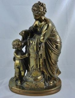 19th C French F. Barbedienne Dore Bronze Statue Mother & Child Putti