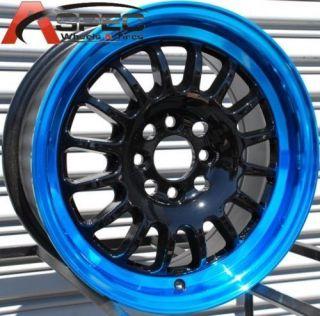 ROTA TRACK R 15X7 4X100 E40 BLACK BLUE LIP RIM WHEELS
