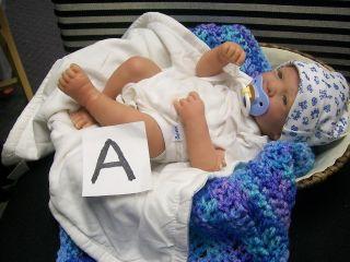 OOAK NEWBORN BABY BOY ANATOMICAL 3D REALISTIC BROWN HAIR BLUE EYES W