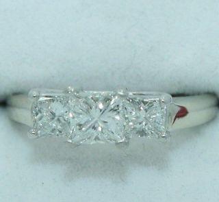 14K White Gold & Platinum ~ 1.14 Carat 3 Stone DIAMOND Ring ~ MAGICGLO