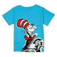 Dr Seuss T Shirt The Cat in The Hat Blue Big Graphic Cat Hat Logo