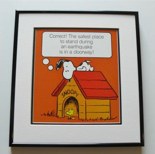 PEANUTS SNOOPY WOODSTOCK EARTHQUAKE SAFETY FRAMED VINTAGE POSTER PRINT