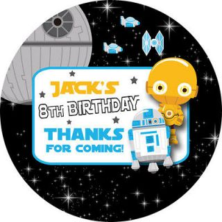 1x A4 Sheet Personalised STAR WARS BIRTHDAY PARTY bag labels STICKERS
