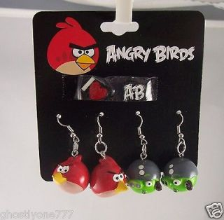 Angry Birds spike dangle Earrings pierced studs