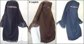 Long Saudi Niqab Nikab 3 Layers burqa Hijab Face cover Veil Islam