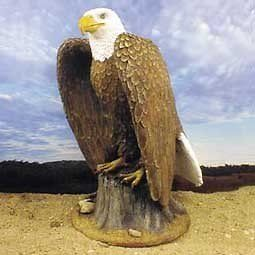 Eagle Perched on Tree Stump Statue Figurine. Home Yard & Garden