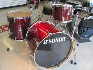Sonor Session Maple Drum Set Trans Cherry Red Stain 22 Bass 3pc Shell