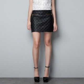 Quilted Faux Leather Zip Mini Skirt / Black / Small 6 8 (Zara dupe