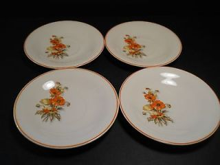 vtg Edwin M Knowles China Orange Poppy 4 Saucers issue Semi Vitreous