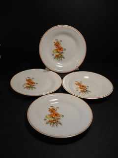 vtg Edwin M Knowles China Orange Poppy 4 Bread Plates Semi Vitreous by