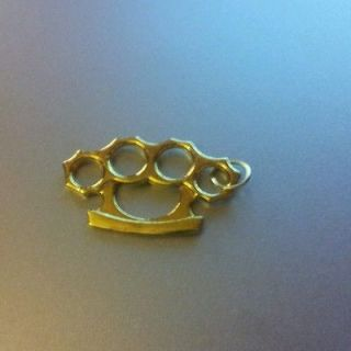 9ct Gold gp large knuckleduster brass knuckles pendant