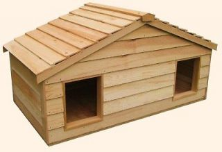 LARGE DUPLEX INSULATED CEDAR CAT HOUSE SMALL DOG HOUSE