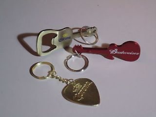 Budweiser Corona Guitar Pick Bottle Opener Key Chain Combo Keychain