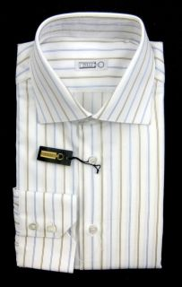 New ZILLI Italy White Blue Brown Stripe Cotton Dress Shirt 15.75 40