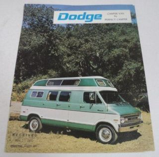 Perfect Camper 1971 Dodge Camper Van Sales Brochure Lot