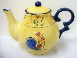 Cracker Barrel Rooster Ceramic Teapot Yellow Chicken NIB