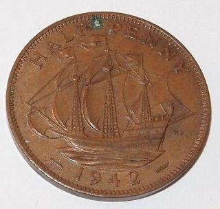 1942 U.K. GREAT BRITAIN 1/2 PENNY HALF Cent copper COIN