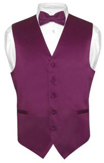 Mens EGGPLANT PURPLE Dress Vest BOWTie Set for Suit or Tuxedo