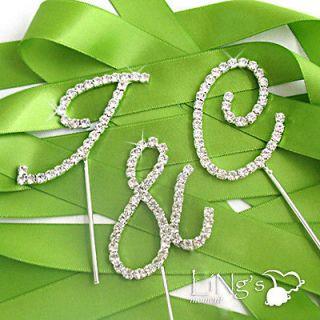 Diamante Initial Monogram Wedding Cake Topper Cupcake Favor