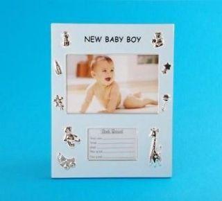 Newborn Baby Boys Birth Record Photo Frame/Nursery Gift   Blue New