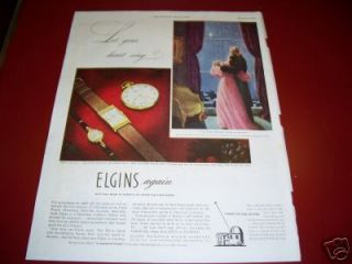 1946 Antique Lord & Lady Elgin Watch Pocketwatch Ad