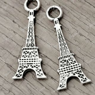 DIY 30PCS Eiffel Tower Tibetan Antique Silver tone 32x12.5mm fit