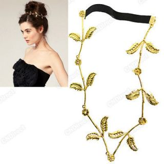 Women Leaf Festival Grecian Garland Hippy Forehead Head Hair Band Gold