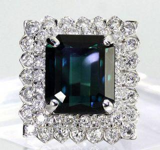 3CT DIAMOND EMERALD CUT GREEN TOURMALINE 14K WHITE GOLD SQUARE RING