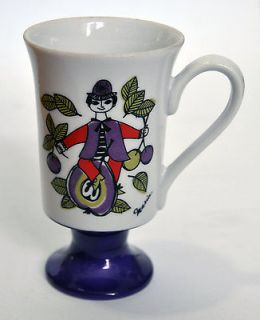 Arnart Fifth Avenue Vintage Footed Coffee Mug Cup Maria Purple Green