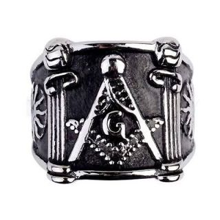 Mens Square Pillars Masonic Ring Stainless Steel