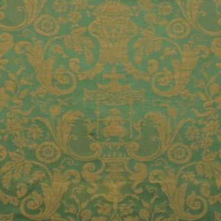 French 100% Cotton Damask Chinoiserie Green Gold Upholstery 5 to 35y