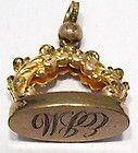VICTORIAN GOLD FILLED WATCH FOB SEAL PENDANT INITIALS EBM 20 X 25 MM