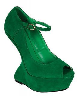 New Green Suede Lady Gaga Style Mary Jane Platform Dexter Wedge 6
