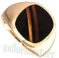 Mens Tiger Eye w/ Black Stone 18kt Gold Plated Ring