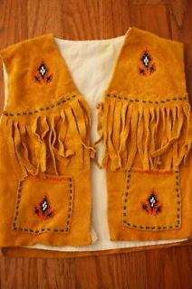 NATIVE AMERICAN BEADED LEATHER VEST TODDLER/CHILD 2T