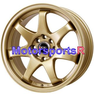 15 15x7 XXR 522 Gold Concave Wheels Rims 4x100 90 93 94 97 01 Acura