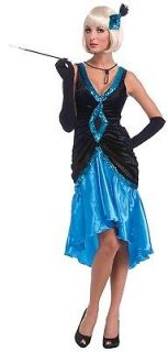 Roaring 20s Black And Blue Ritzy Flapper Adult Costume Dress *New*