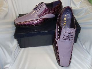 Mens Eggplant Purple & Lavender Croc Look Dress Shoes