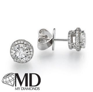 VS2 ELEGANT DIAMOND STUD EARRINGS 2 2/3 CARAT ROUND CUT 18K WHITE GOLD