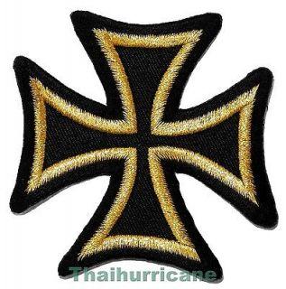 SALE CHEAP Gold Iron Cross Biker Clothing Jacket Shirt Embroidered