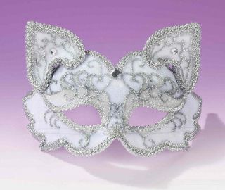 Fancy Masquerade Halloween Party White Kitty Cat Mask