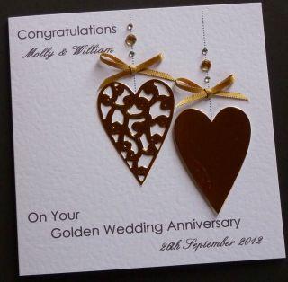 Handmade Personalised Golden / 50th Wedding Anniversary Card
