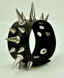 3row Cone Spike Wristband Punk Rockabilly 80s Metal Rock Goth Vamp